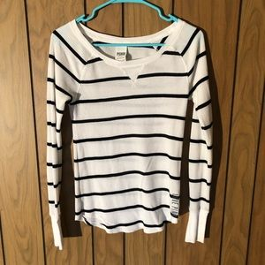 PINK - Victoria's Secret Striped Long Sleeve Top